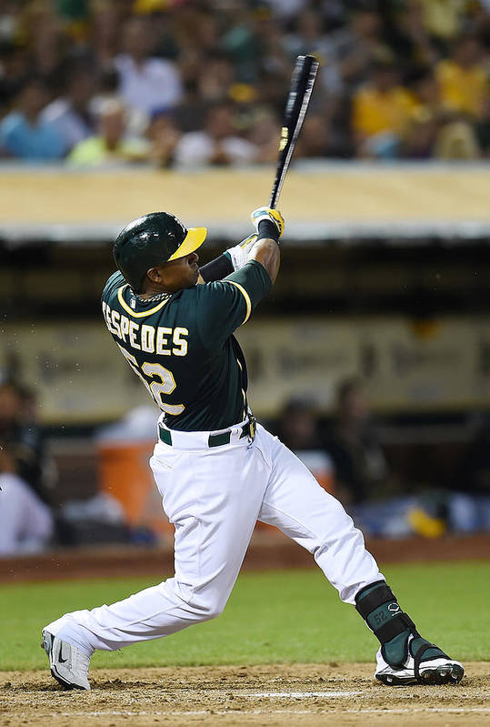 Yoenis Cespedes Art Print featuring the photograph Yoenis Cespedes and John Jaso by Thearon W. Henderson