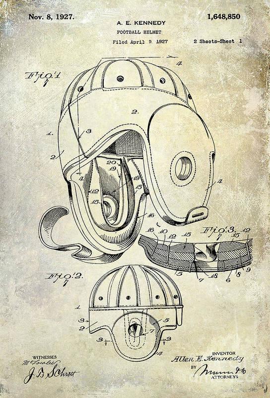 Football Patent Art Print featuring the photograph 1927 Football Helmet Patent by Jon Neidert