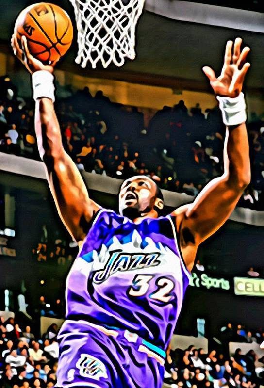 Karl Malone Art Print featuring the painting Karl Malone by Florian Rodarte