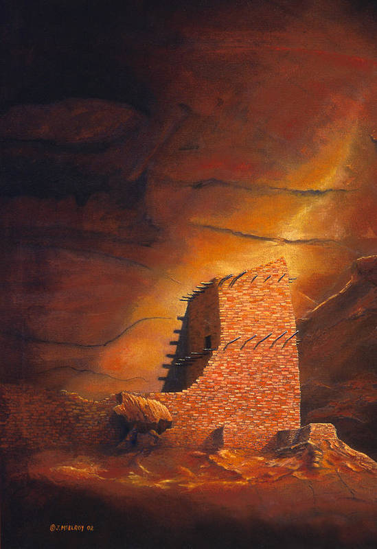 Mummy Cave Ruins Art Print featuring the painting Mummy Cave Ruins by Jerry McElroy