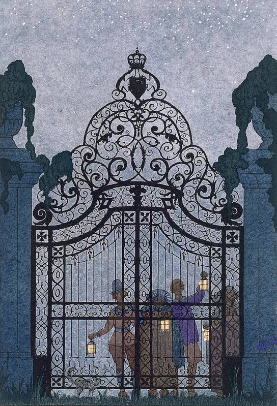 Gates Art Print featuring the painting Illustration For 'fetes Galantes' by Georges Barbier