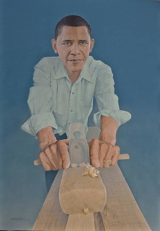 Barack Obama Art Print featuring the painting A Carpenter Chinese Citizen Barack Obama by Tu Guohong