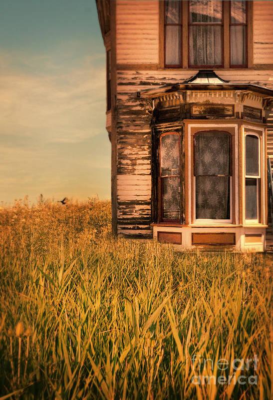 Door Art Print featuring the photograph Abandoned House In Grass by Jill Battaglia