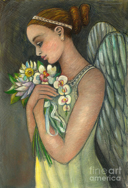 Figurative Art Print featuring the painting Angelical Girl With Flowers by Vera Zales