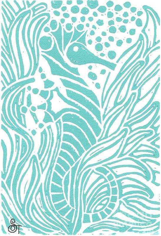 Coastal Art Art Print featuring the painting Aqua Seahorse by Stephanie Troxell