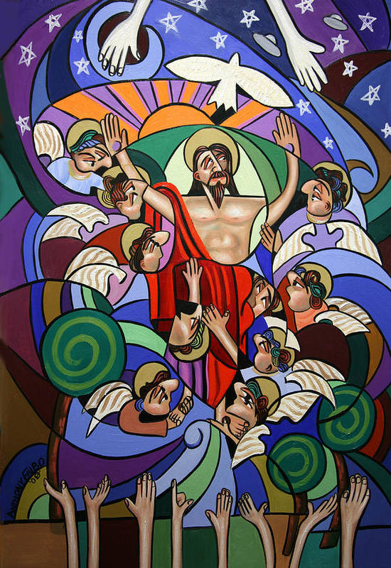 Ascending To The Father Art Print featuring the painting Ascending To The Father by Anthony Falbo