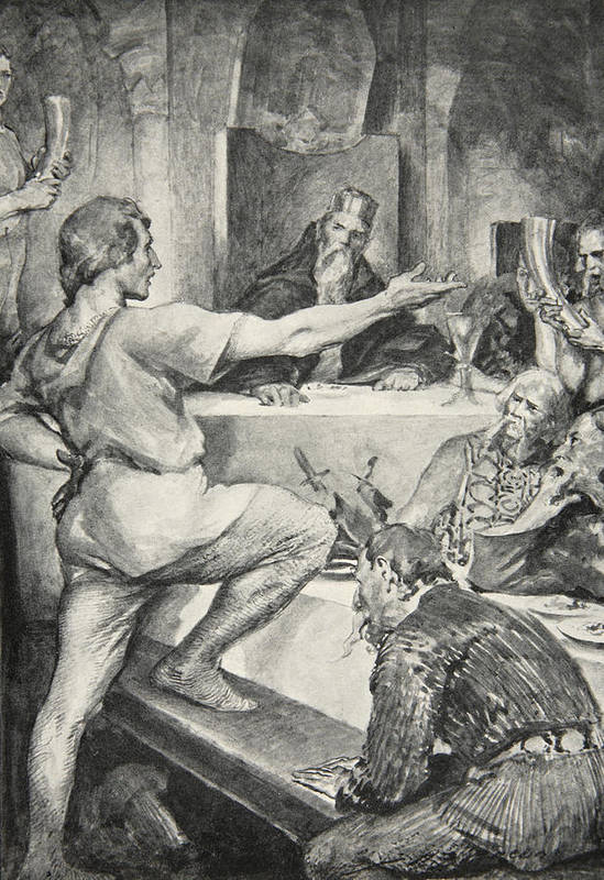 Beowulf Art Print featuring the drawing Beowulf Replies Haughtily To Hunferth by John Henry Frederick Bacon
