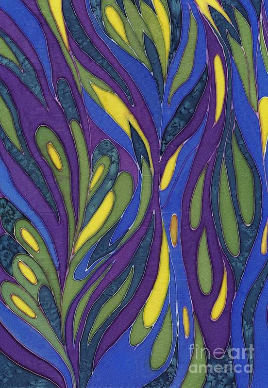 Abstract Art Print featuring the painting Blue Green Purple Abstract Silk Design by Sharon Freeman