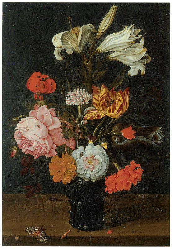 Jan Baptist Van Fornenburgh Print featuring the painting Bouquet In A Roemer by Jan Baptist Van Fornenburgh