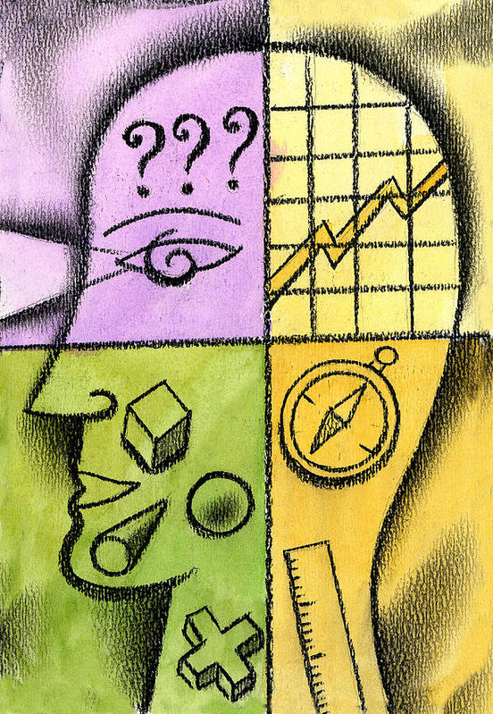 Brainstorming Business Idea Career Path Confused Confusion Goal Goals Idea Ideas Manage Management Objective Objectives Outlook Plan Planning Plans Prospect Prospects Question Mark Think Thinking Thought Thought Process Thoughts Time Management Art Print featuring the painting Brainstorming by Leon Zernitsky
