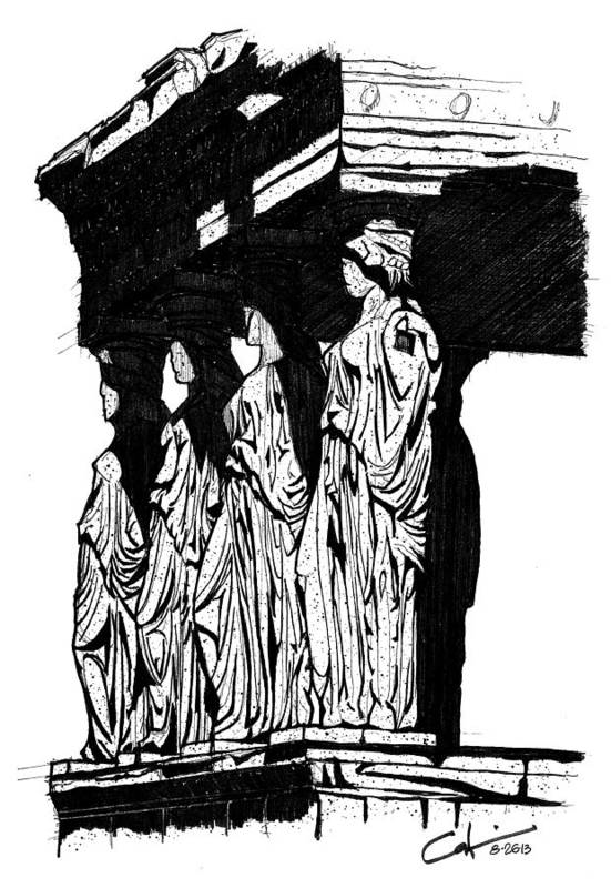 Caryatids Art Print featuring the drawing Caryatids In High Contrast by Calvin Durham