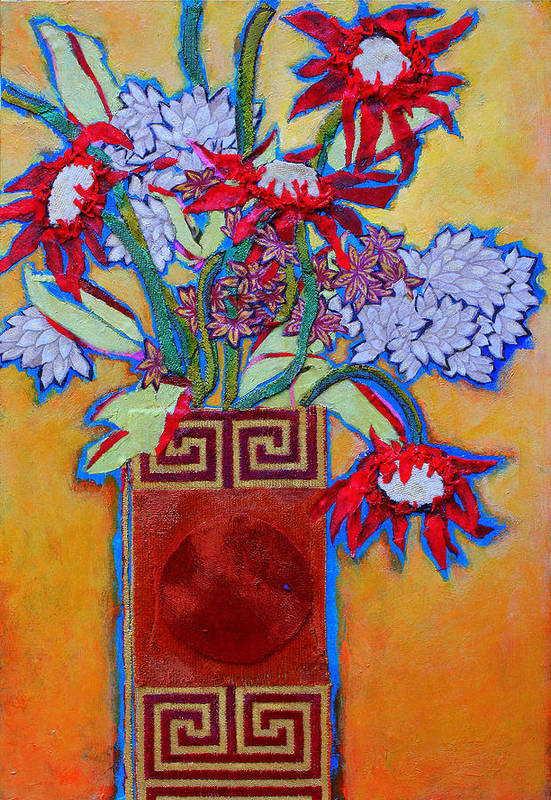 Flowers In A Vase Art Print featuring the mixed media Chinese Vase by Diane Fine