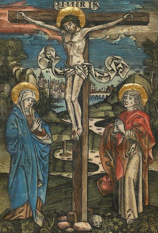 Jesus Art Print featuring the painting Christ On The Cross With Mary And Saint John by German School