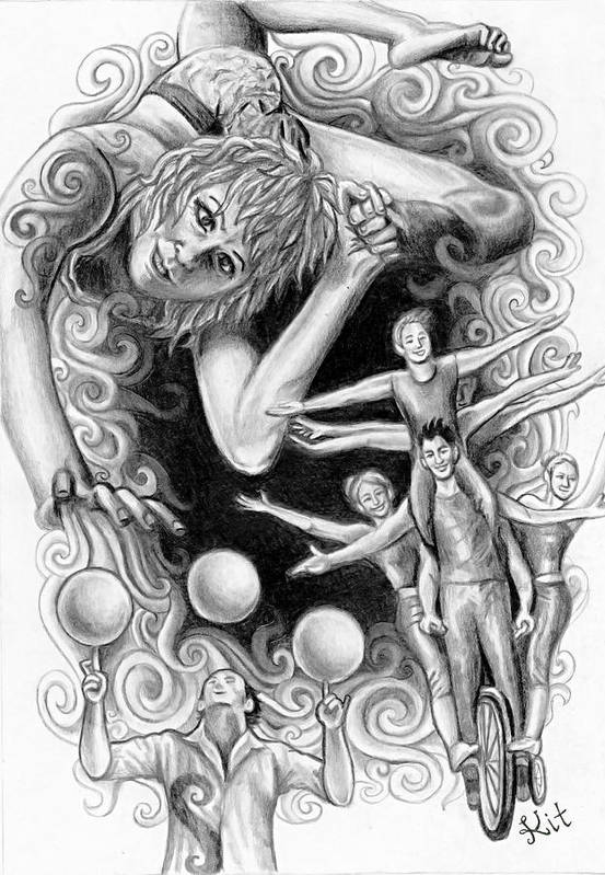 Circus Art Print featuring the drawing Circus Acrobats by Kit Clock