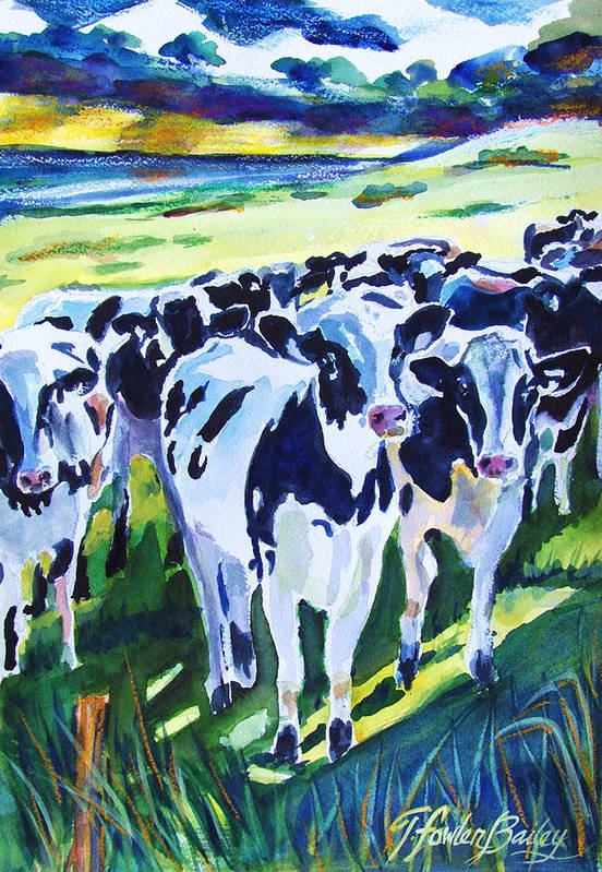 Holstein Art Print featuring the painting Curiosity Cows Original Sold Prints Available by Therese Fowler-Bailey