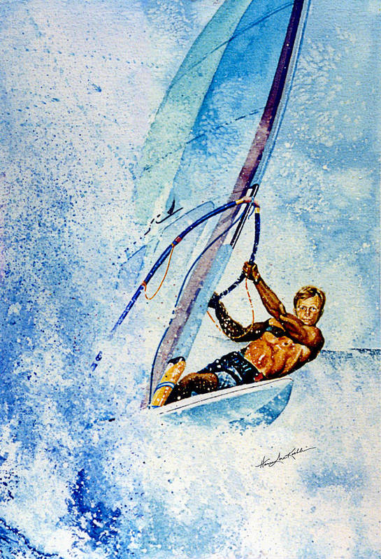 Surfing Art Print featuring the painting Cutting The Surf by Hanne Lore Koehler