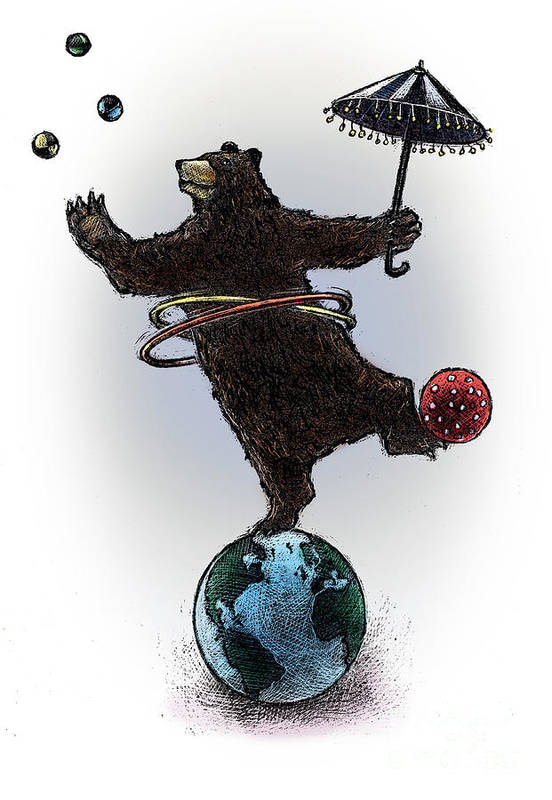 Global Economy Art Print featuring the drawing Dancing Bear by Chris Van Es