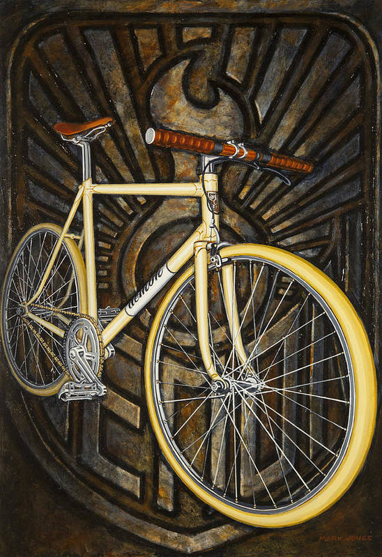 Bicycle Art Print featuring the painting Demon Path Racer Bicycle by Mark Jones