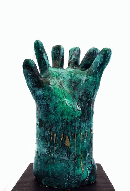 Hand Art Print featuring the sculpture Fabulas Malachite Hand by Mark M Mellon