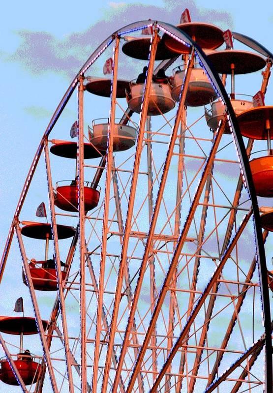 Ferris Wheel Art Print featuring the photograph Ferris Wheel At Sunset by Joe Kozlowski