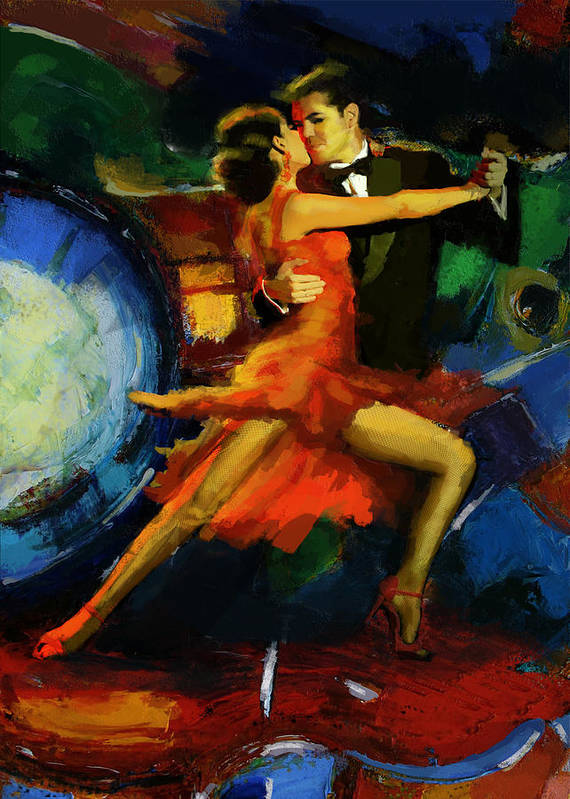 Jazz Print featuring the painting Flamenco Dancer 029 by Catf