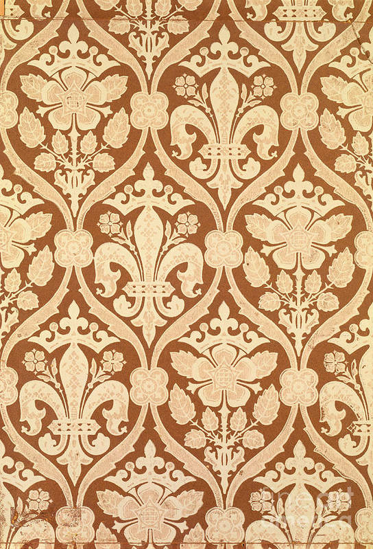 Repeated Pattern Art Print featuring the tapestry - textile Fleur-de-lis by Augustus Welby Pugin