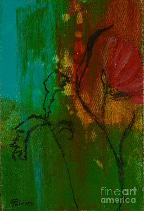 Red Flower Art Print featuring the painting Fleur by Robin Maria Pedrero