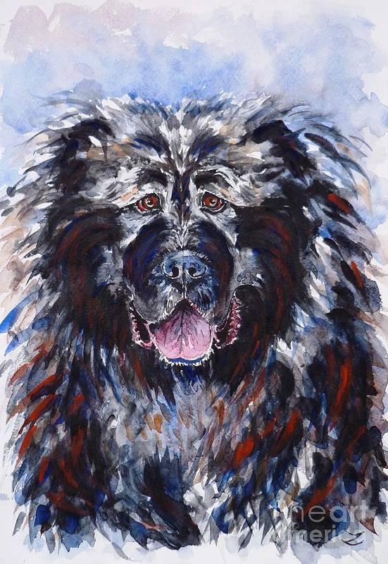 caucasian Shepherd Dog Art Print featuring the painting Friend by Zaira Dzhaubaeva