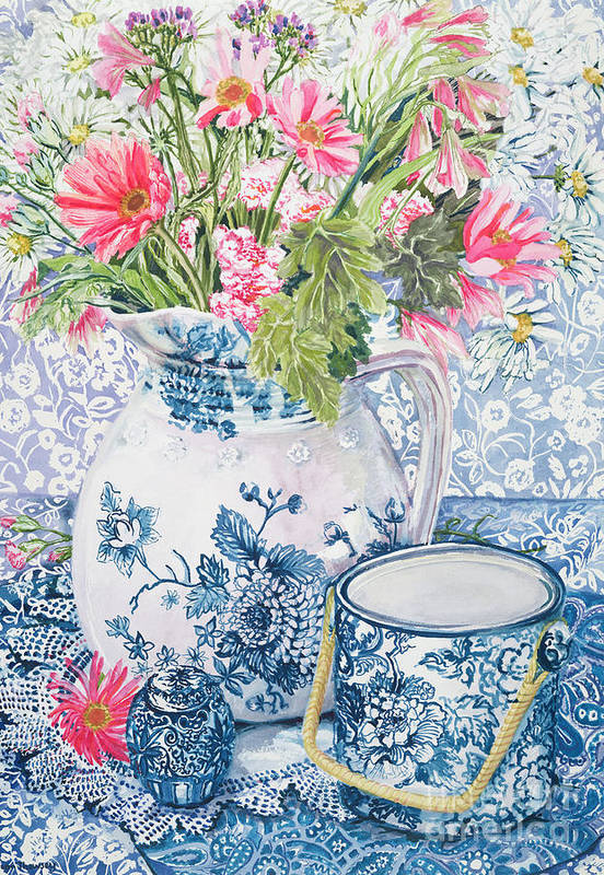 Blue And White Art Print featuring the painting Gerberas In A Coalport Jug With Blue Pots by Joan Thewsey