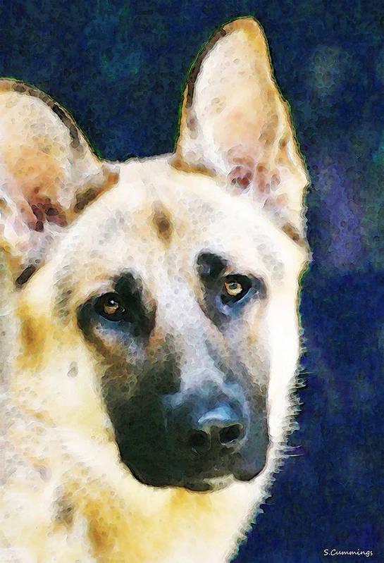 German Shepherd Art Print featuring the painting German Shepherd - Soul by Sharon Cummings