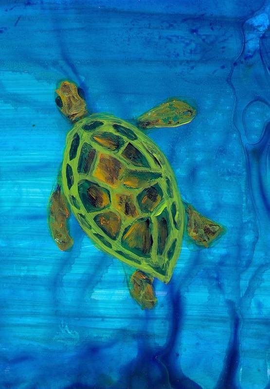 Turtle Art Print featuring the painting Going Up For Air by Wanda Pepin