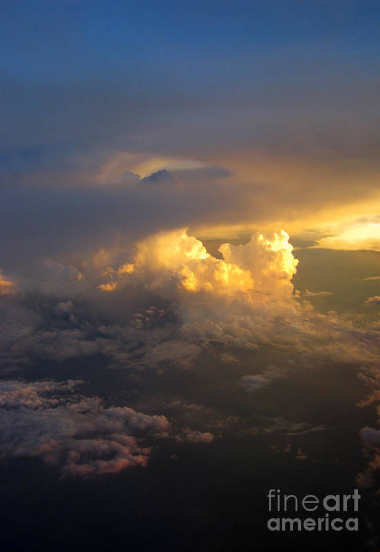 Cloud Art Print featuring the photograph Golden Rays by Ausra Huntington nee Paulauskaite