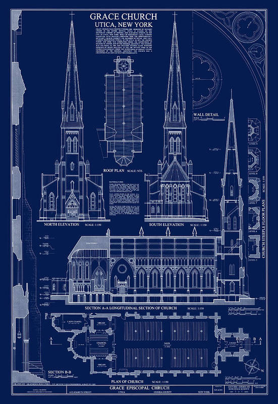 Grace Church Blueprint Art Print By Daniel Hagerman