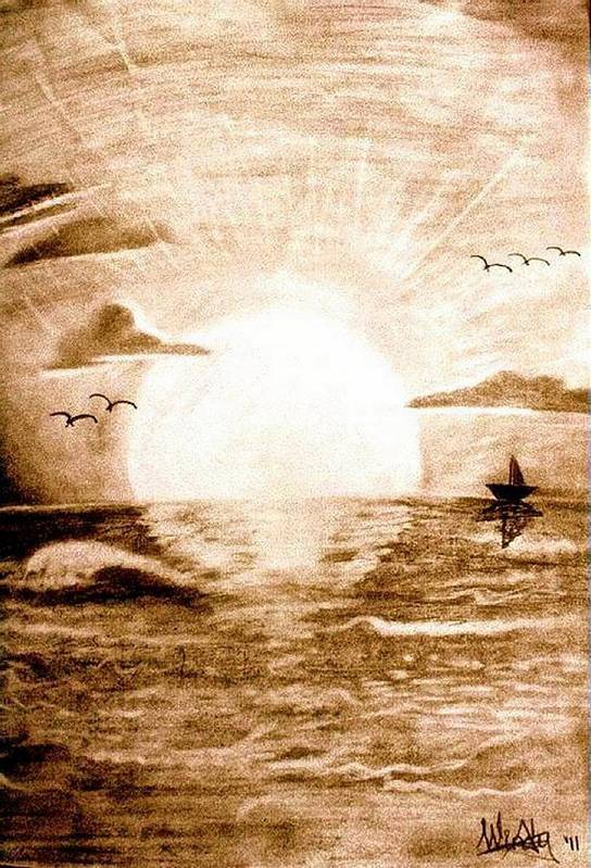 Sunset Art Print featuring the drawing In The Quiet by Susan Windy Moraa