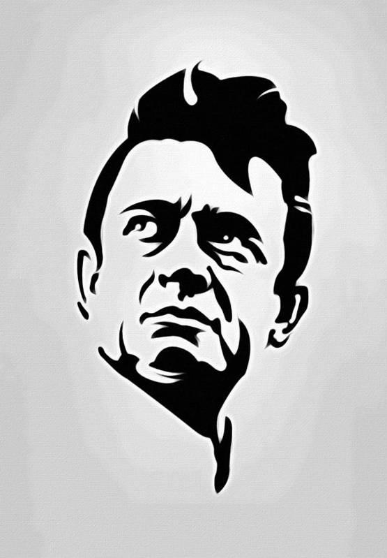 Johnny Cash Art Print Featuring The Painting Poster Portrait By Florian Rodarte