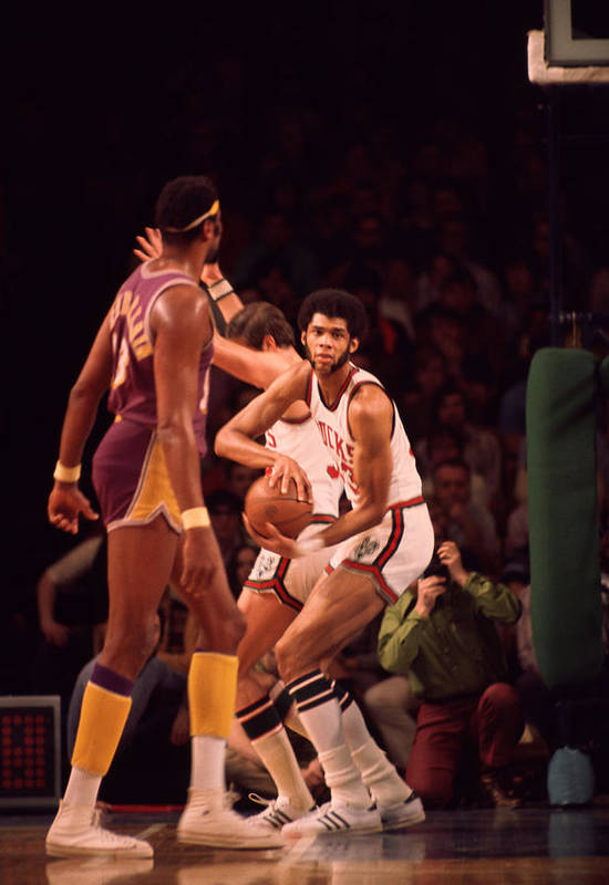 Marvin Newman Print featuring the photograph Kareem Abdul Jabbar Gets Rebound by Retro Images Archive