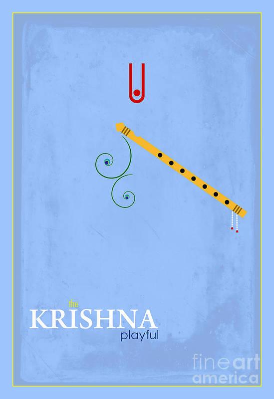 Krishna The Playful Art Print featuring the digital art Krishna The Playful by Tim Gainey