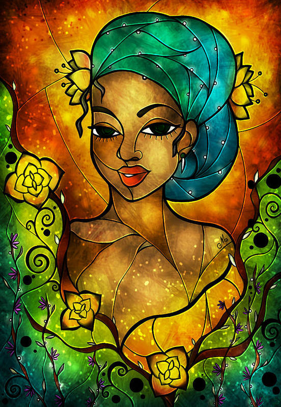 Flowers Art Print featuring the digital art Lady Creole by Mandie Manzano