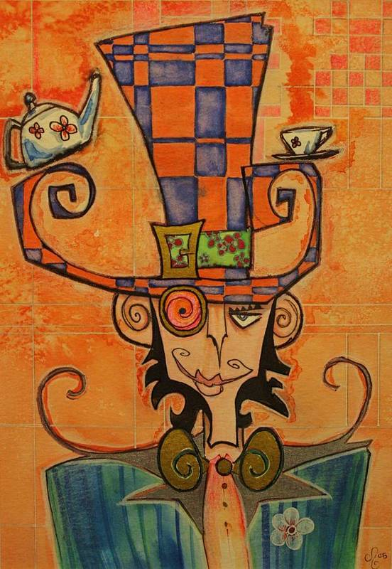 Mad Hatter Art Print featuring the drawing Mad Hatter by Ellen Henneke