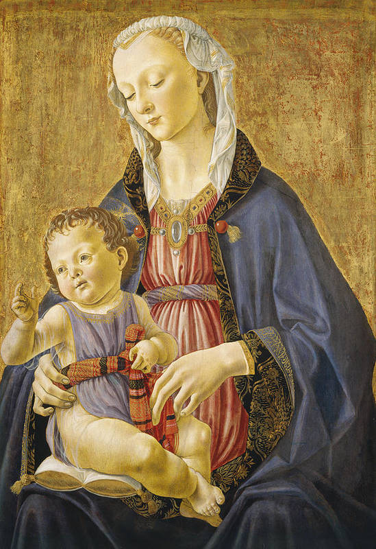 Virgin; Mary; Jesus; Christ; Gold; Renaissance Art Print featuring the painting Madonna And Child by Domenico Bigordi Domenico Ghirlandaio