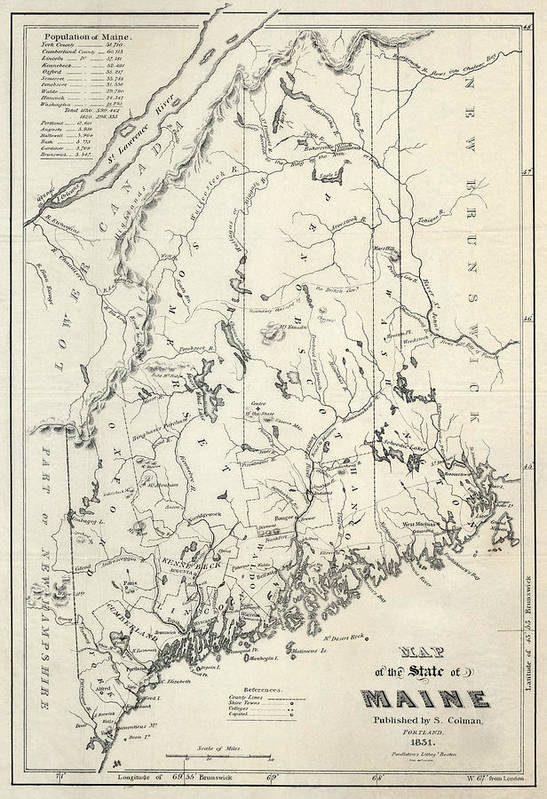image regarding Printable Map of Maine identify Maine Colman Map 1831 Artwork Print