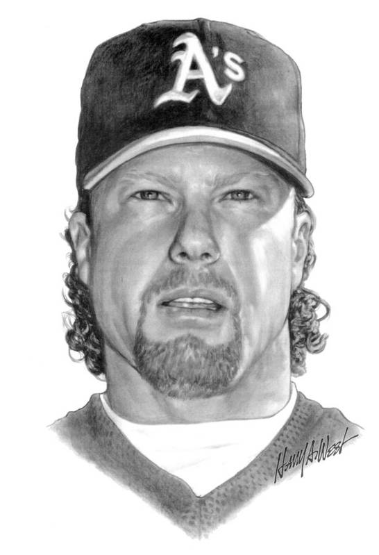 Mark Mcgwire Print featuring the drawing Mark Mcgwire by Harry West