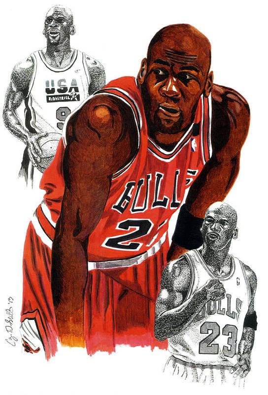 Michael Jordan Print featuring the drawing Michael Jordan by Cory Still