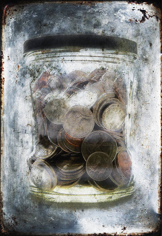 Affluence; Anguish; Avant-garde; Banking; Blue; Broke; Brown; Change; Close-up; Coins; Color; Conceptual; Cool; Currency; Despair; Detail; Dime; Dream; Economy; Freeze; Glisten; Gloomy; Glow; Hope; Ice; Jar; Maintained; Many; Memory; Money; Nickle; Old; Penny; Poverty; Quarter; Rough; Saving; Security; Shimmer; Shine; Silver; Still Life; Surreal; Texture; United States Currency; Vertical; Wealth; Weathered; Worn; Money In A Jar; Frozen Money; Money In Ice; Saving Money Art Print featuring the photograph Money Frozen In A Jar by Skip Nall