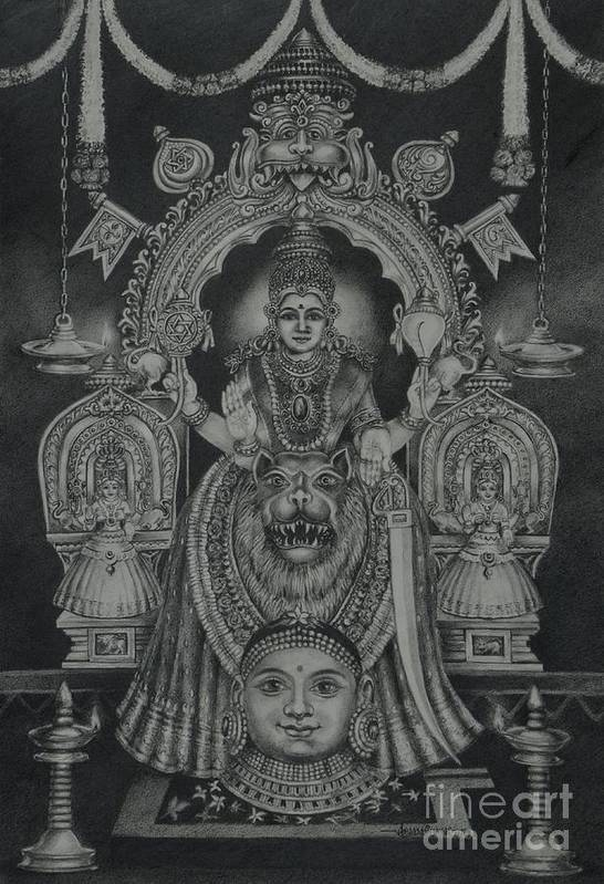 Hindu Goddess Art Print featuring the drawing Mookambika Devi by Asha Sasikumar