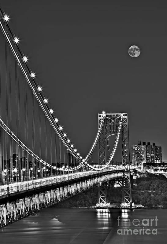 George Washington Bridge Art Print featuring the photograph Moon Rise Over The George Washington Bridge Bw by Susan Candelario