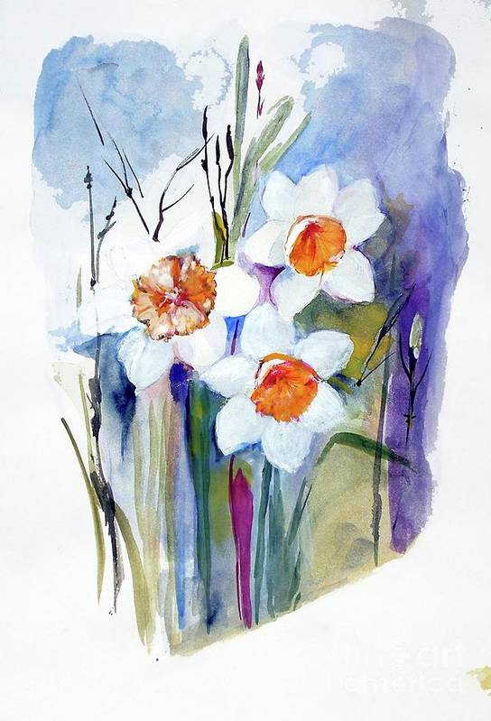 Narcissi Art Print featuring the painting Narcissi by Sibby S