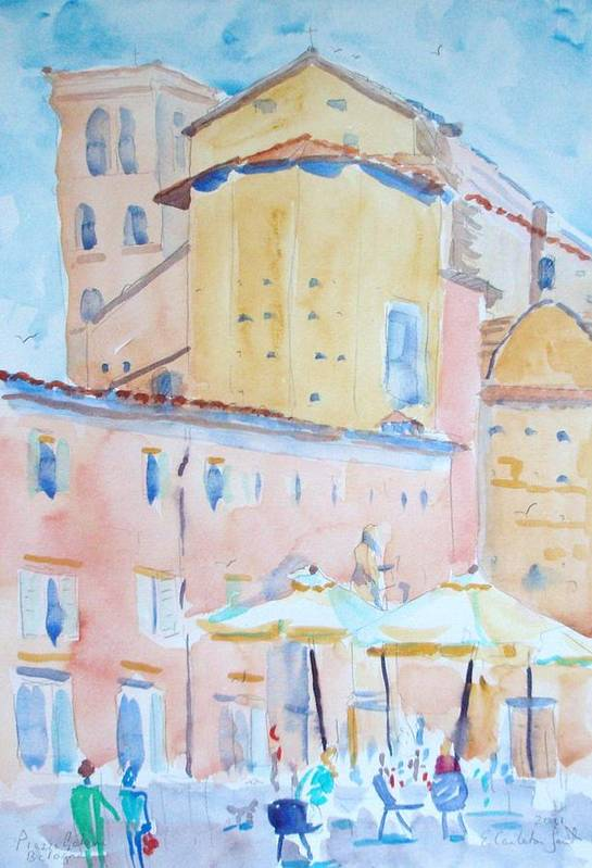 Cityscape Art Print featuring the painting Piazza Galvin Bologna by Elinor Fletcher