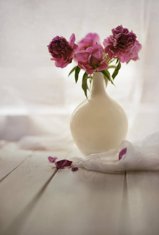 Flower Art Print featuring the photograph Pink Peonies In A Pot On The Wooden Table by Jaroslaw Blaminsky