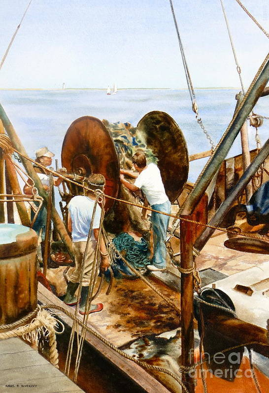 Fishermen Art Print featuring the painting Preparing The Nets by Karol Wyckoff